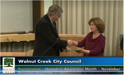The City of Walnut Creek has proclaimed November as Homeless Awareness Month! Donna Colombo accepts the Proclamation from Mayor Richard Carlston.